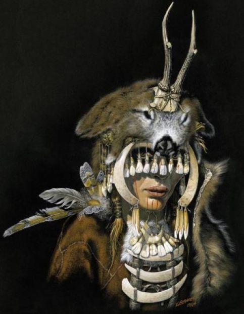 "Mesolithic female shaman of Bad Dürrenberg, 7000-6500 bce, with reconstructed regalia from animal bones, horns, teeth, and shells. From a wonderful color-illustrated pdf of ""Archaeological Finds from Germany"""