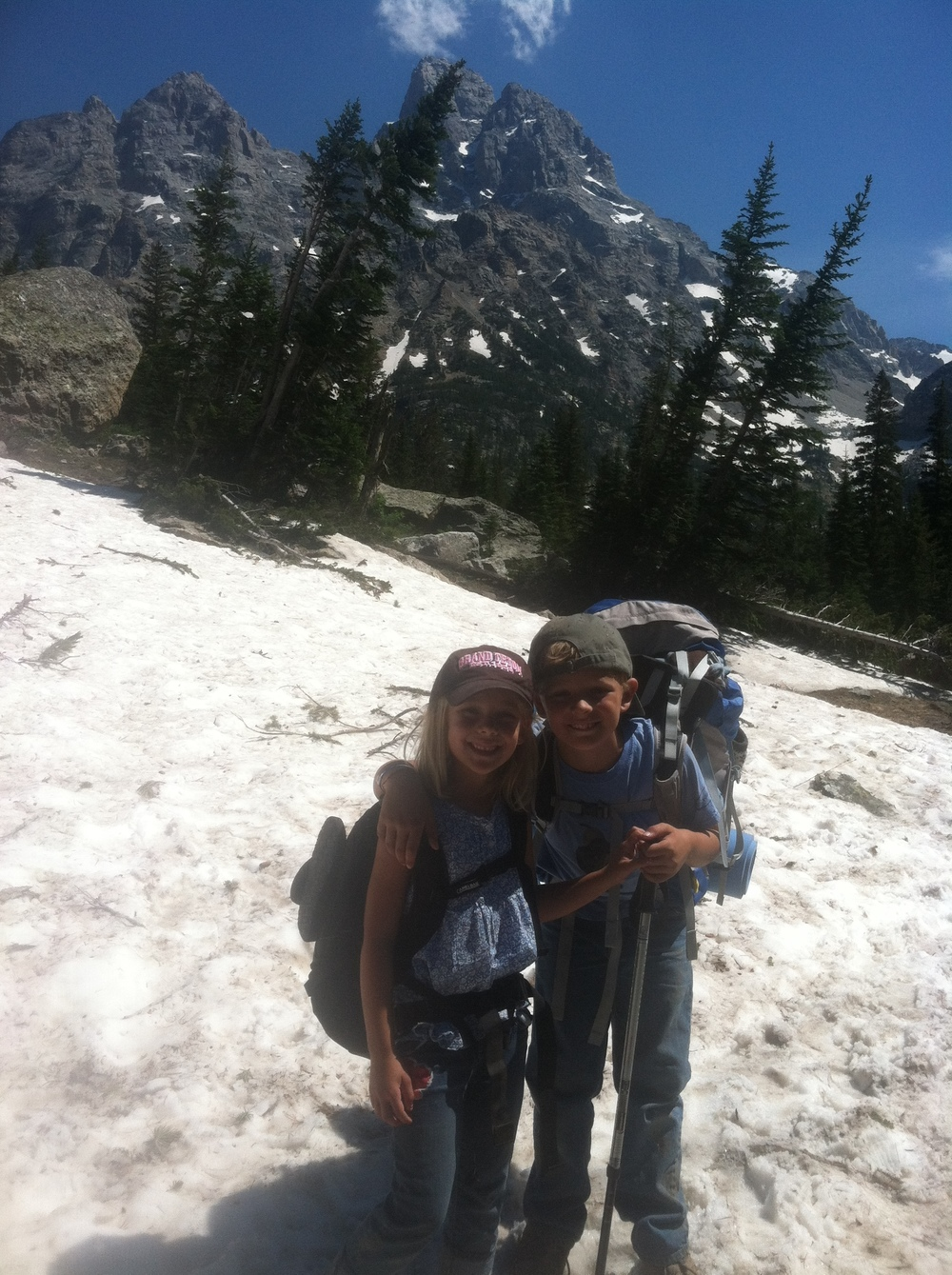 Our first high-altitude summit.  Granite Pass in the Grand Tetons, summer of 2012.