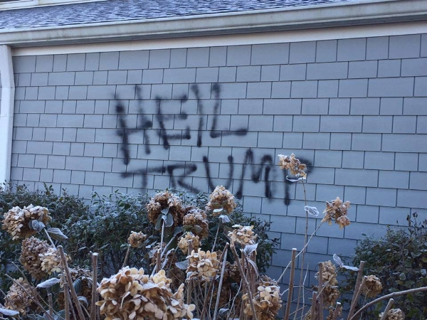 A local church littered with graffiti just after the election.  Left unchecked, this hatred is continuing to grow.