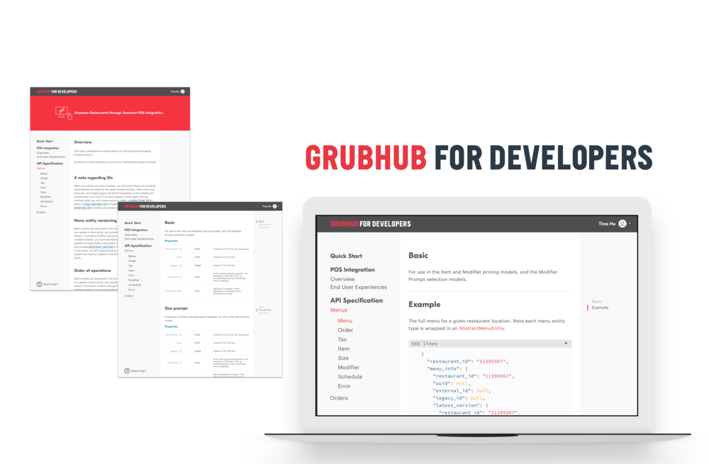 API interface design for  Grubhub For Developers