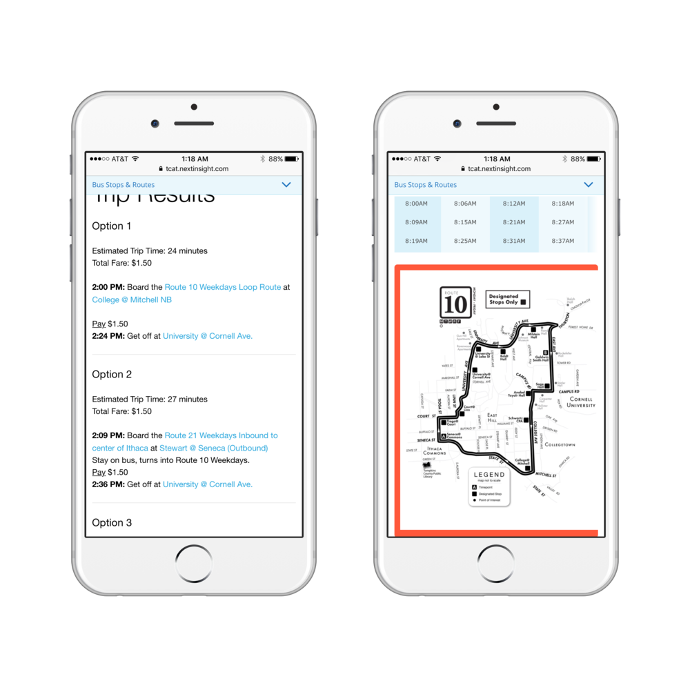 Initial TCAT App   The Trip planner feature presents route options in writing, making them difficult to compare.The Hyperlinked stops or locations pull up PDF maps or large PDF timetables, which are hard to read, navigate, or interact with on mobile devices.