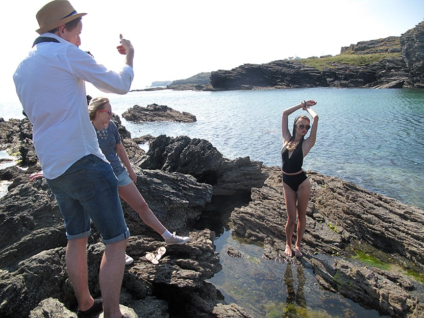 Amy Gee posing on the rocks