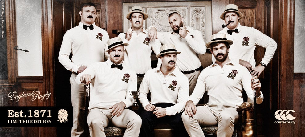 Photo from the new Canterbury 1871 campaign featuring the England Rugby team.