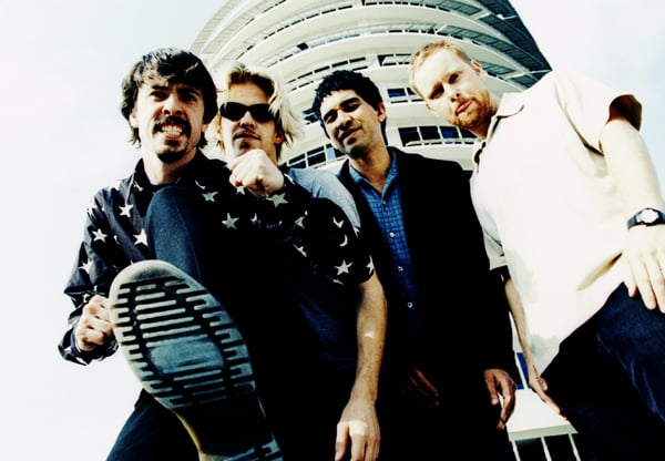 Photo from the Shard archive.  The Foo Fighters, photographed in La outside capital records.