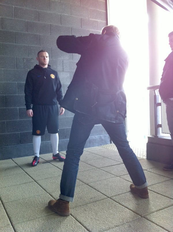 Me on a shoot with Wayne Rooney yesterday