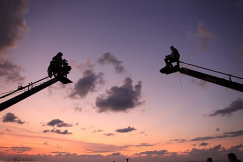 Me and Nadine Labaki sat in the camera crane's overlooking Byblos