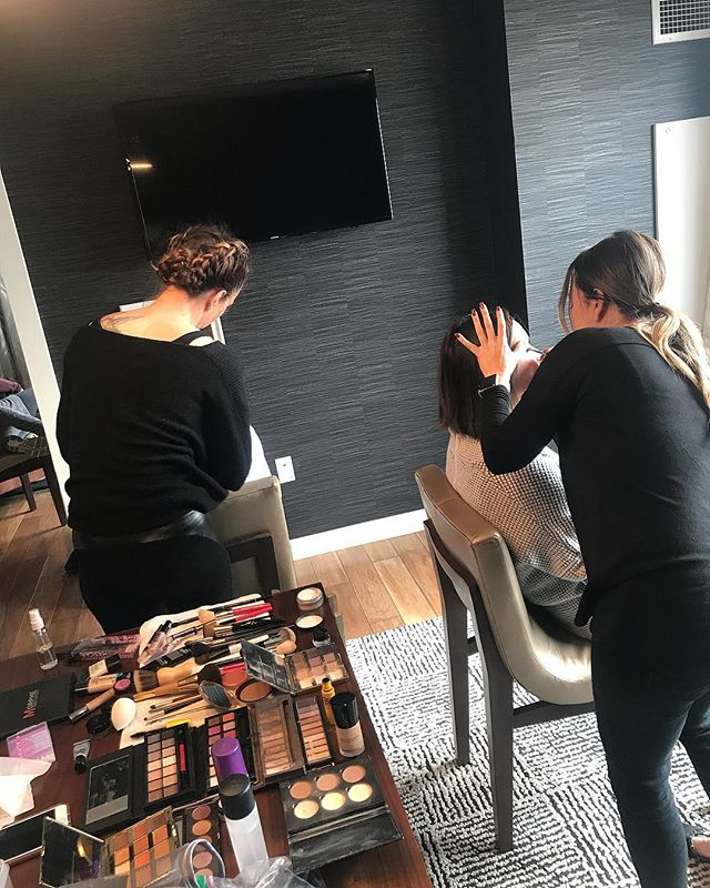 Our Knotti Glam Crew hard at work getting these beauty's glammed up! Book your bridal hair and makeup trial run now at Knotti Hair salon!