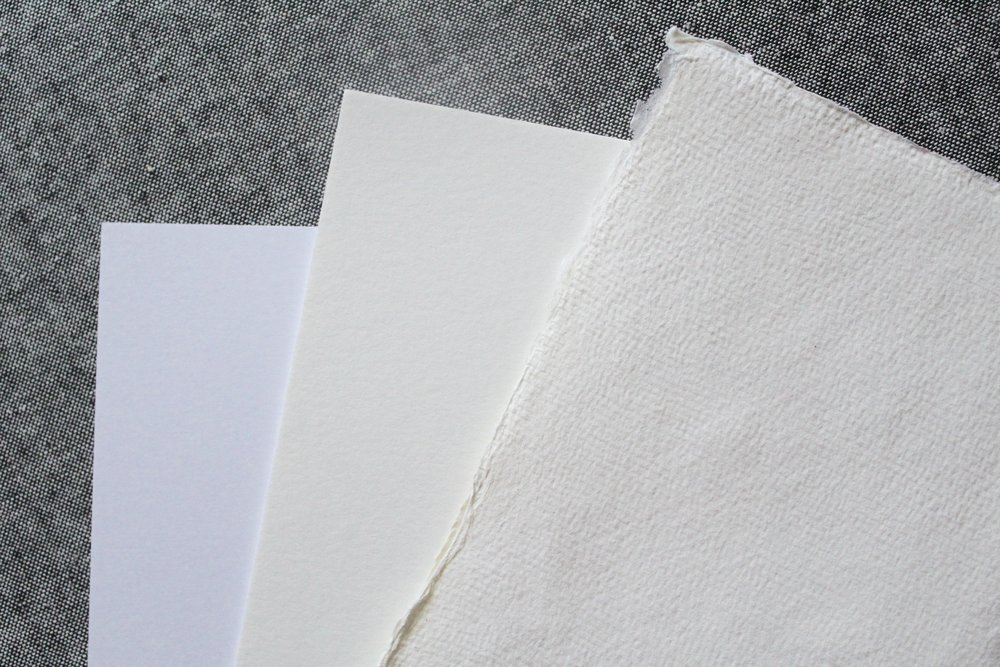 left to right: 130# cardstock, 220# cotton, handmade