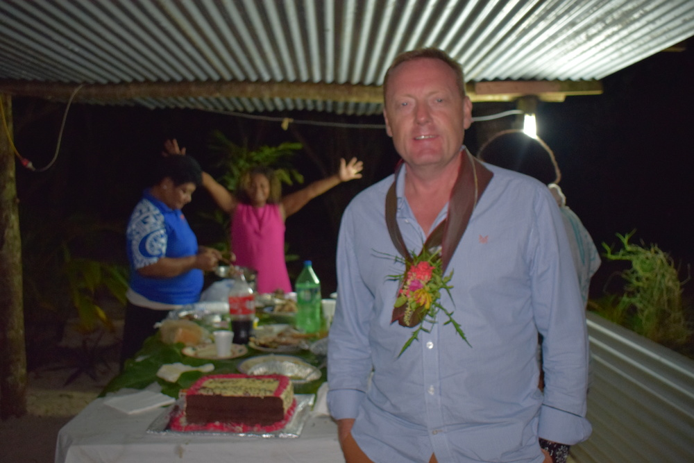 Our team were presented with traditional garlands as part of a 'lovo' beach ceremony