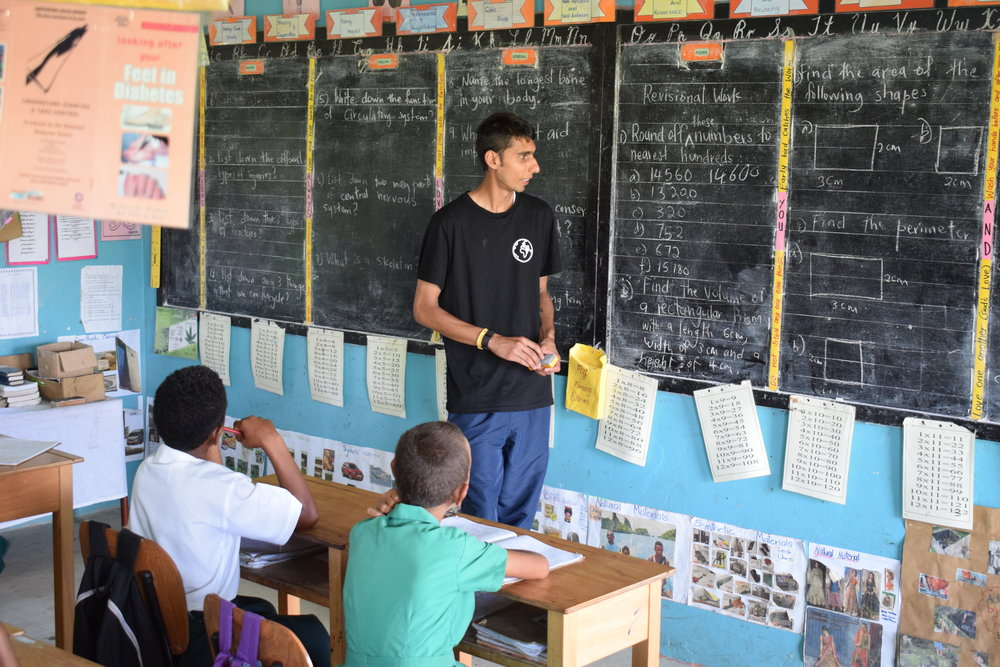 Aaron engaging children at Ratu Filse Memorial School, Fiji