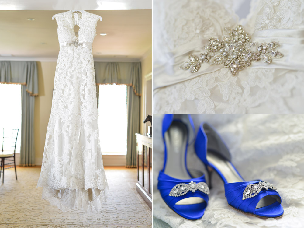 Wedding gown and bridal shoes details at Keene Mansion, Lexington, KY
