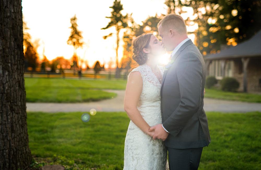 Beautiful Sunset Wedding Portrait at Keeneland