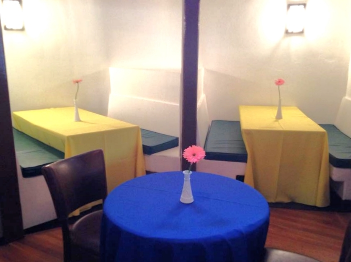 Tables with DIY decorations
