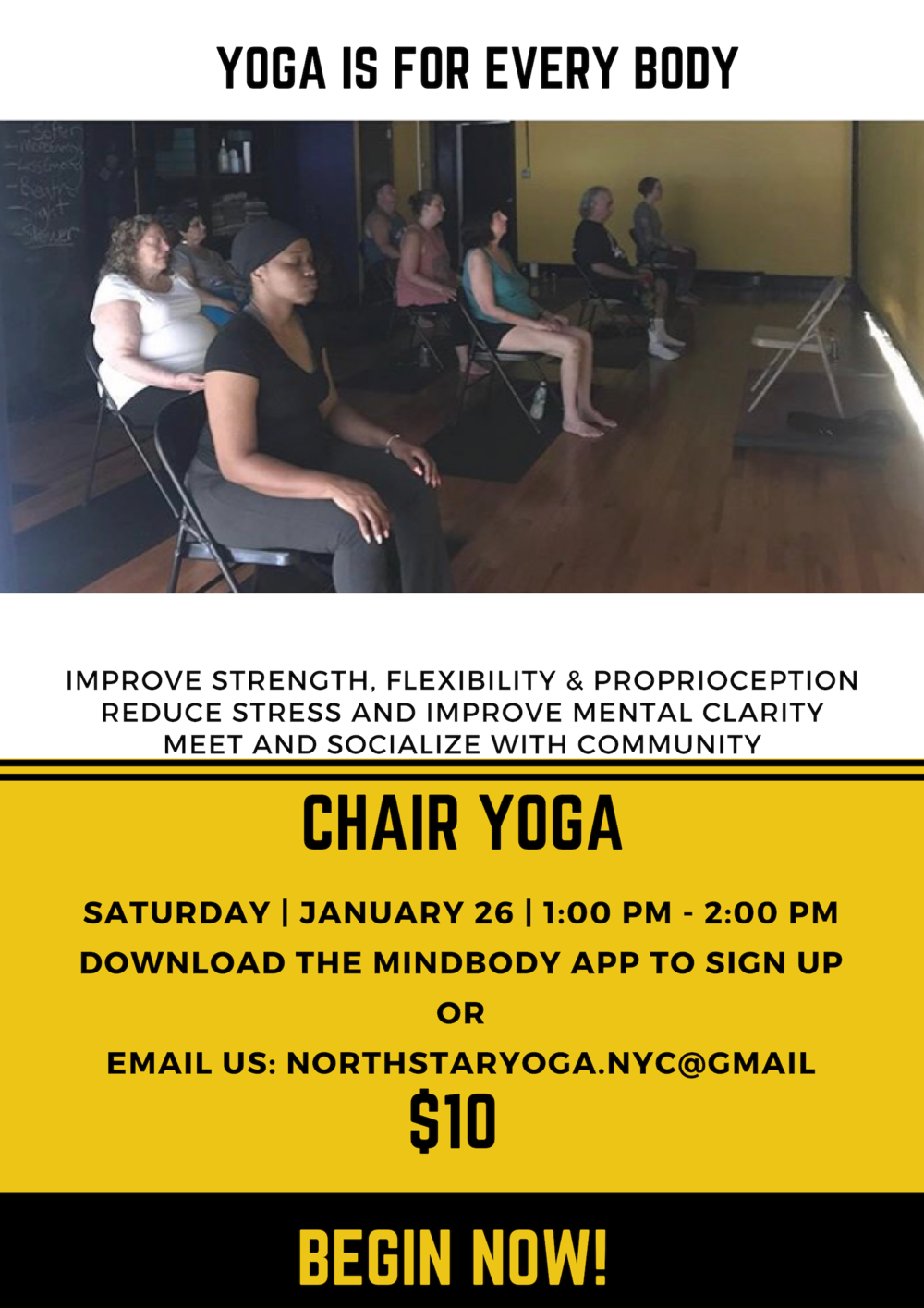 First chair yoga class will be Saturday January 26 at 1 PM