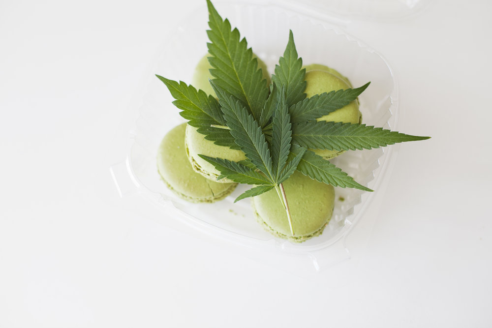 © Kristen Angelo Cannabis-infused edibles with cannabis leaves