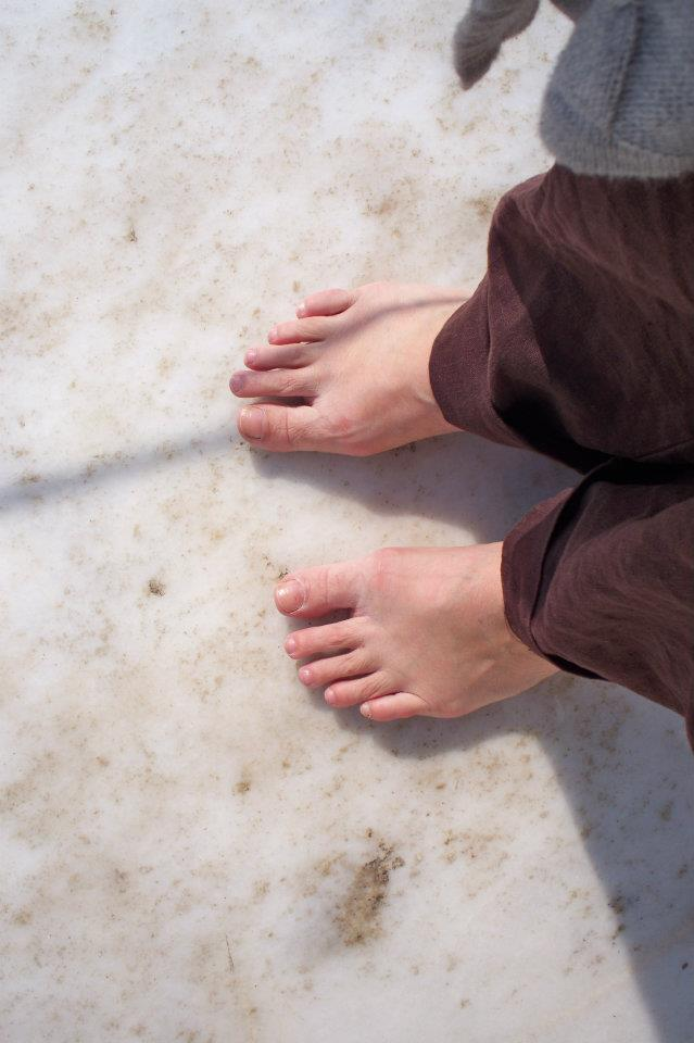 My feet on the floor of the Taj Mahal