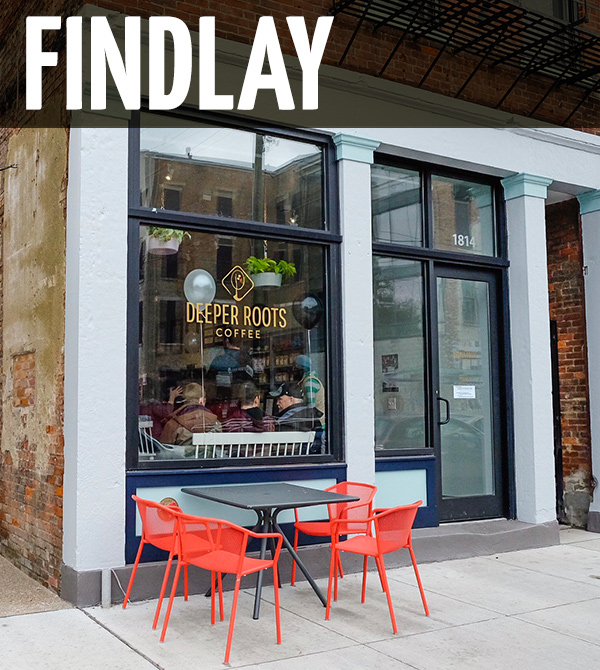 Findlay Coffee Bar    1814 Race St Cincinnati, Ohio 45202   (513) 319-3021   Hours:   Every Day 8am-4pm
