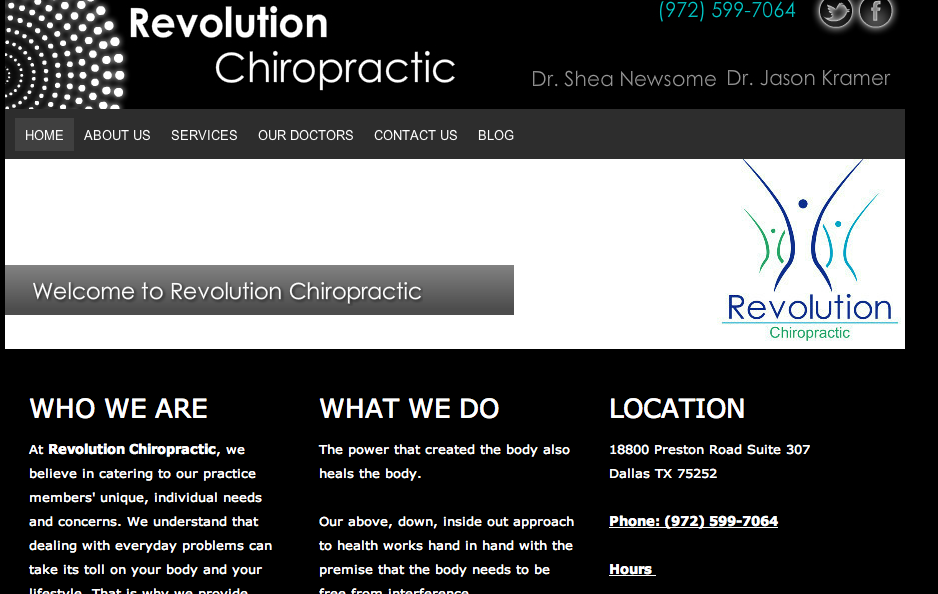 Revolution Chiropractic . Chiropractor in Dallas. Business. Website.