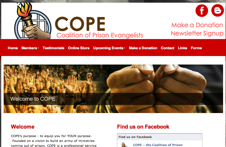 COPE - Coalition of Prison Evangelists . Website.