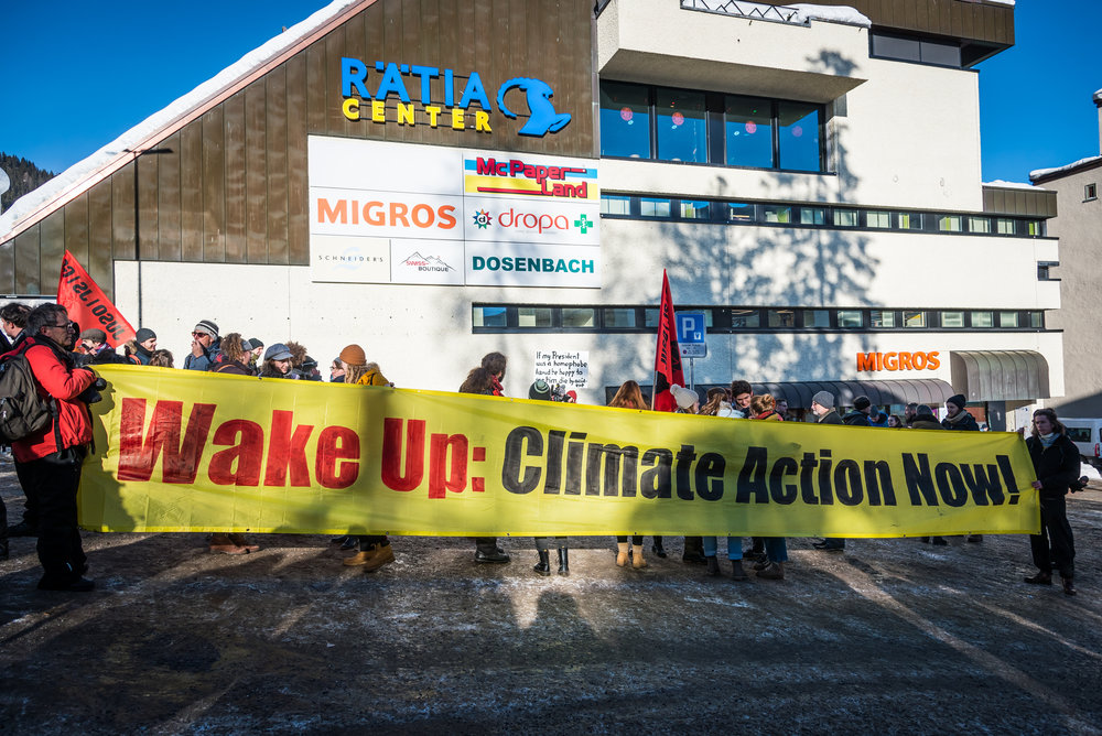 Climate protest at World Economic Forum, Davos, Switzerland, January 2019