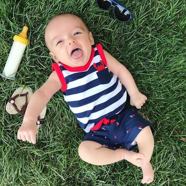 Scout LOVES summer nights!! And we love his gummy smile 💚☀️ There's nothing better than being his mama!