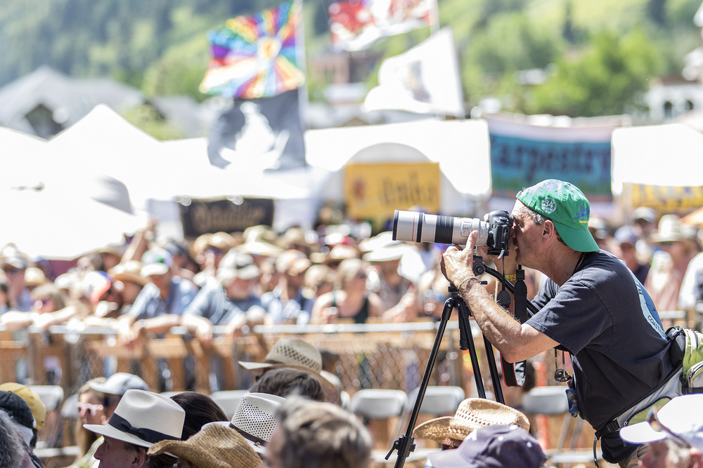 Tim Benko - shooting his 31st consecutive year at the Telluride Bluegrass Festival.