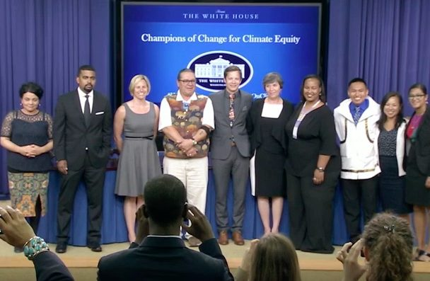 Sinnok was formally awarded at the White House on July 15th for affecting change to combat climate change in his community. Photo Credit: screen capture from The White House YouTube Channel.