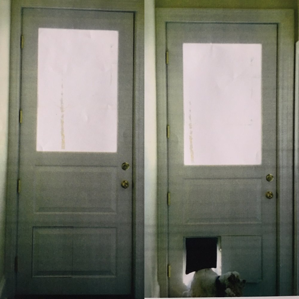 This is actually two pictures of the same door.  The owners asked me to build a door with a hidden dog door.  I placed it within the raised panel.