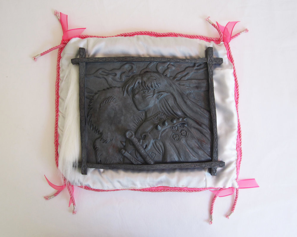 Seshhomaru, 2017  Glazed stoneware, satin, synthetic cord, ribbon, faux fur, cotton stuffing