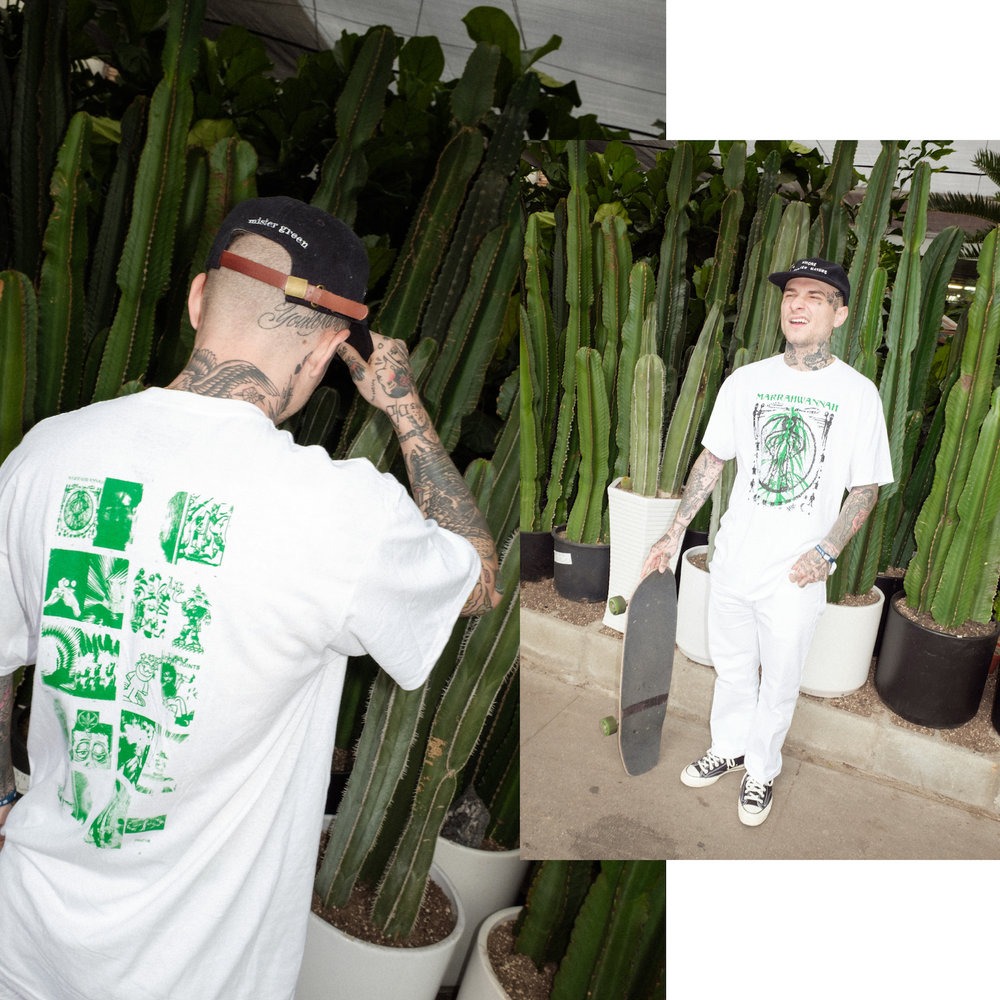 Smoke Mother Nature Cap, Mister Green x PRMTVO MARRAHWANNAH tee, Green Dickies, Cactus Plant Flea Market bracelet, Converse