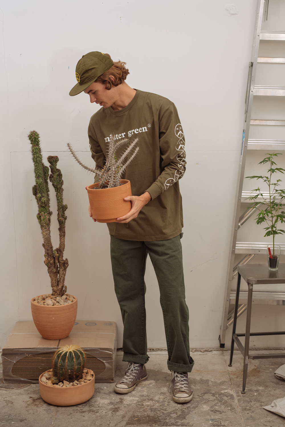 Satin Peace Logo Cap - Navy   W  ordmark Longsleeve - Army   Green Dickies - Army