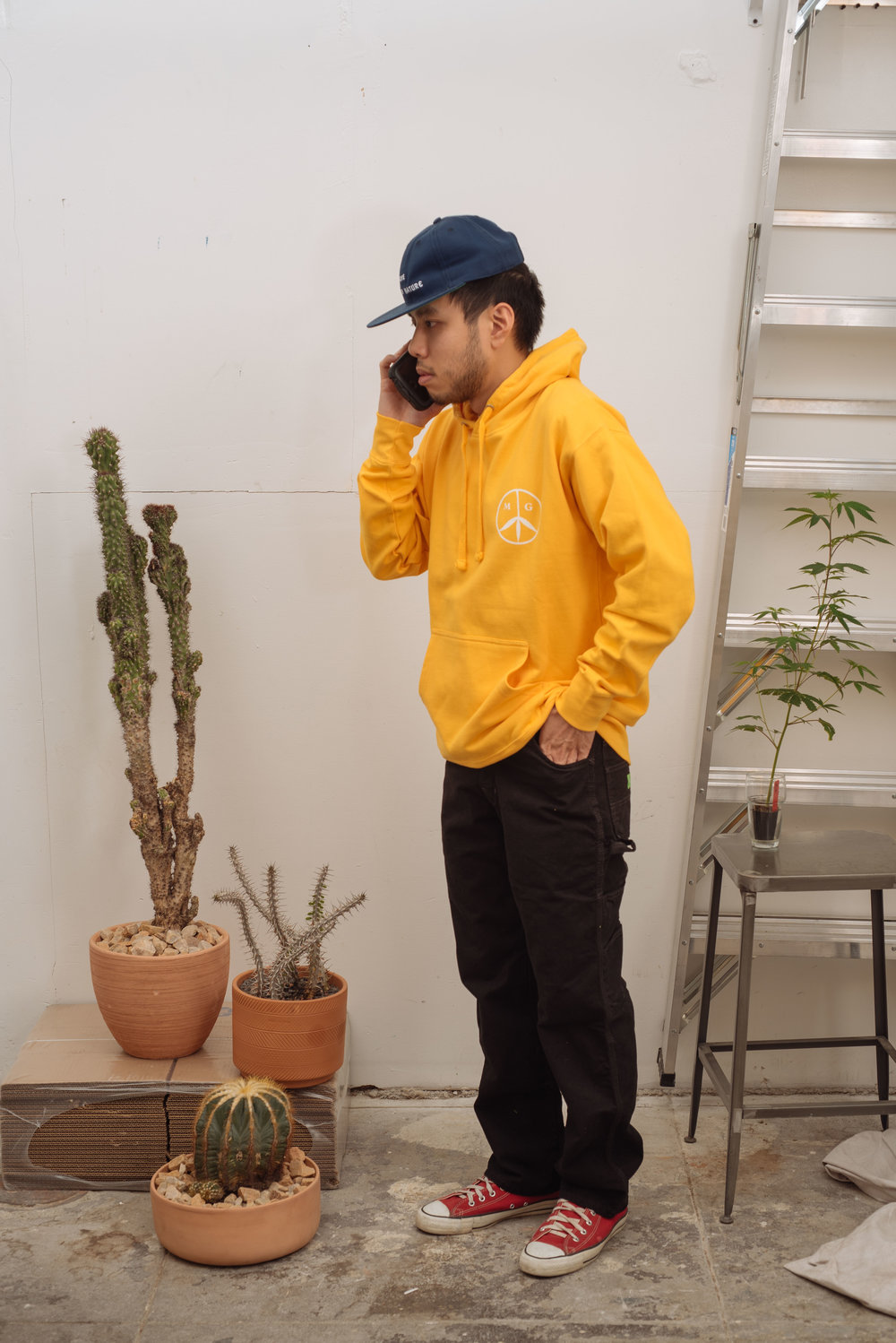 Smoke Mother Nature Cap - Navy   Peace Hoodie - Golden   Green Dickies - Black