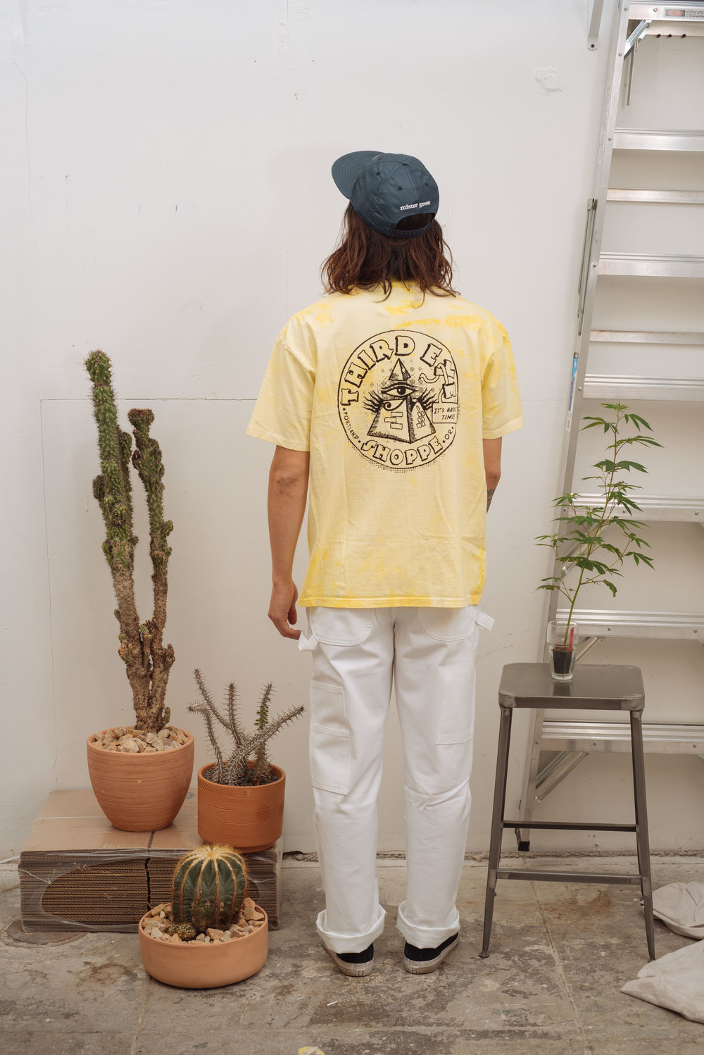 Satin Peace Logo Cap - Navy   3rd Eye Tee - Yellow Tie Dye   Green Dickies - White