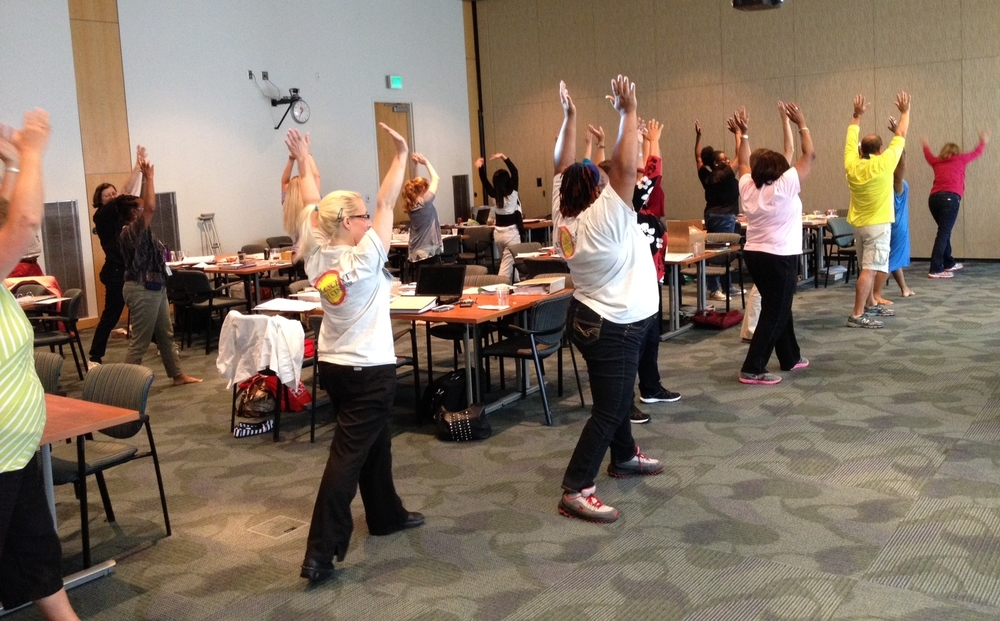 ACHIA's obesity collaborative learning session in summer 2014 included a fun physical activity exercise for participating pediatricians and their staffs
