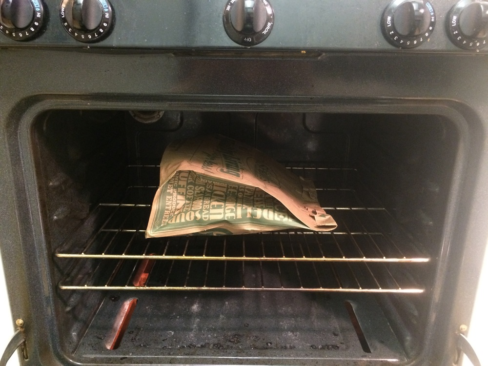 Make sure the brown bag doesn't touch the burner element inside the oven.
