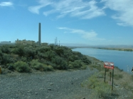 The N reactor on the Columbia River shoreline