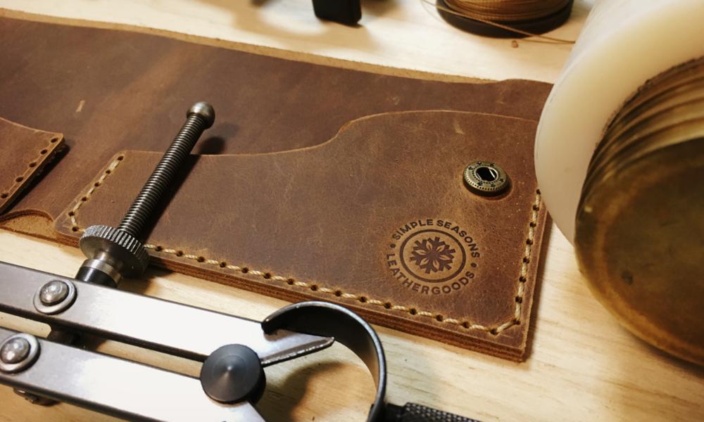 simple seasons leathercraft logo design leatherwork connor fowler cfowlerdesign uk