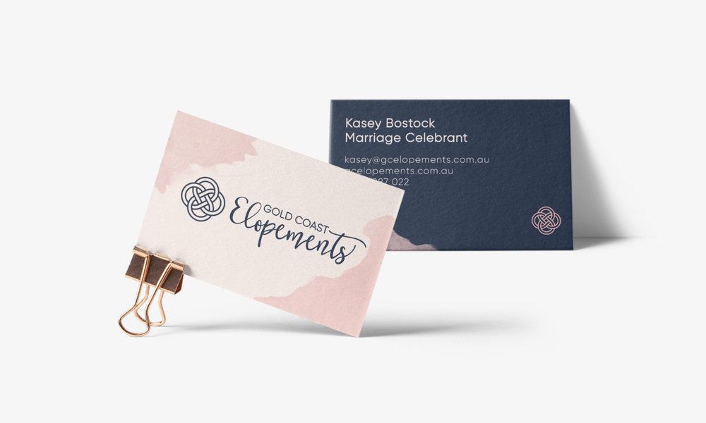 gold coast elopements business card design branding connor fowler cfowlerdesign uk
