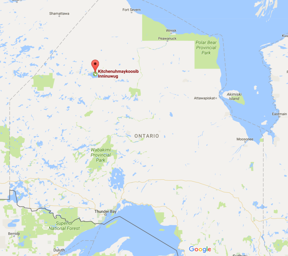 The first nations community of KI is located on big trout lake in Northern Ontario.