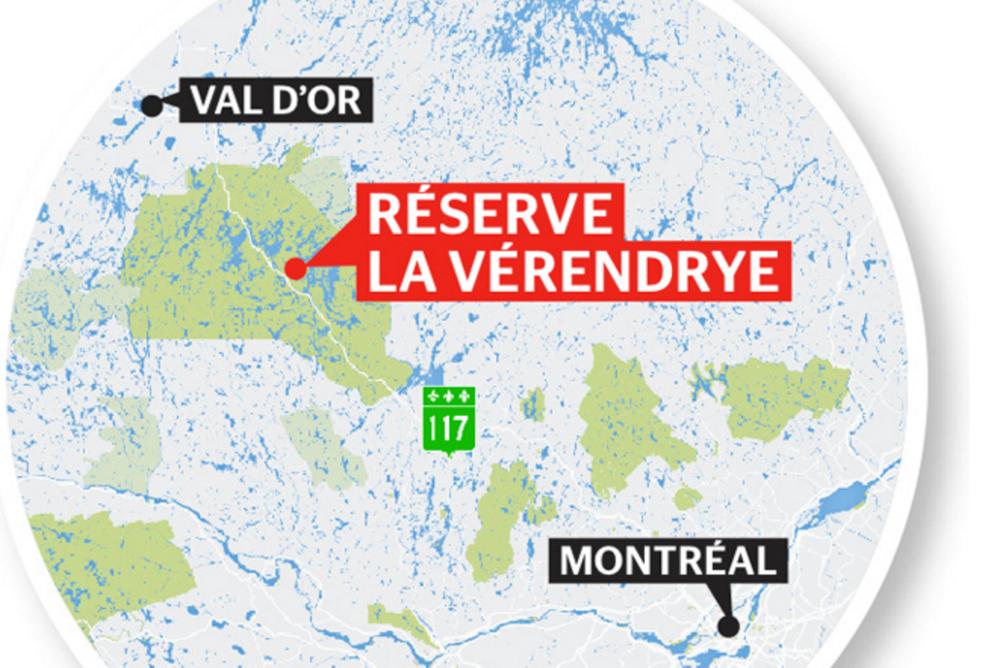 Bien que classée réserve faunique, la forêt de   La Vérendrye   est coupée parcelle par parcelle à un rythme de 2000 arbres par jour. La communauté algonquine qui y vit est devant la justice pour stopper l'industrie forestière.