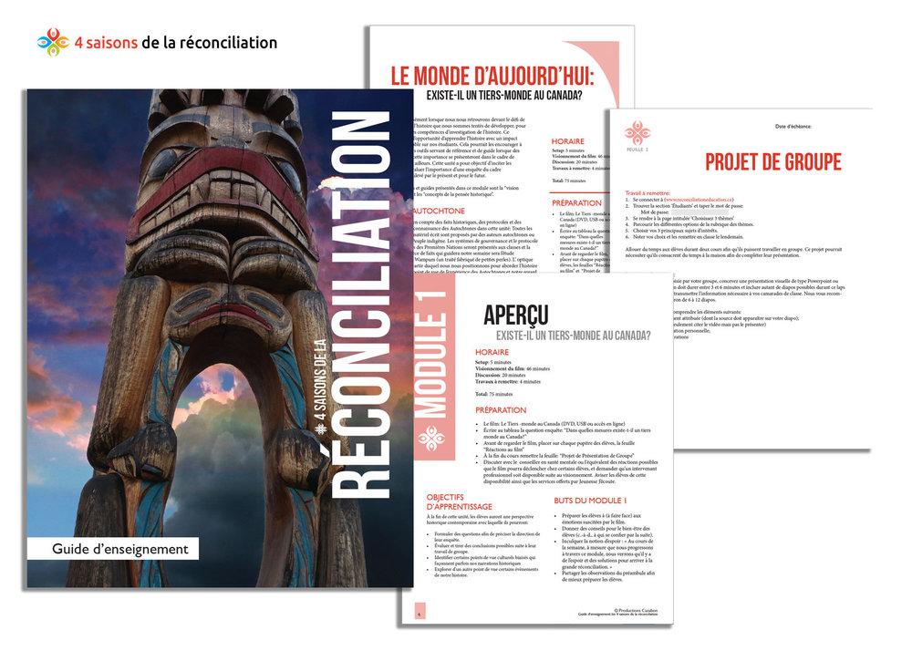 - Découvrez notre guide pédagogique:Les 4 saisons de la réconciliation est constitué d'un bloc d'apprentissage d'une semaine prêt à être présenté en classe. L'unité s'inspire des appels à l'action du rapport final de la Commission de Vérité et Réconciliation et il est conçu pour les élèves du cours d'histoire de 9e année4 saisons de la réconciliation (PDF)