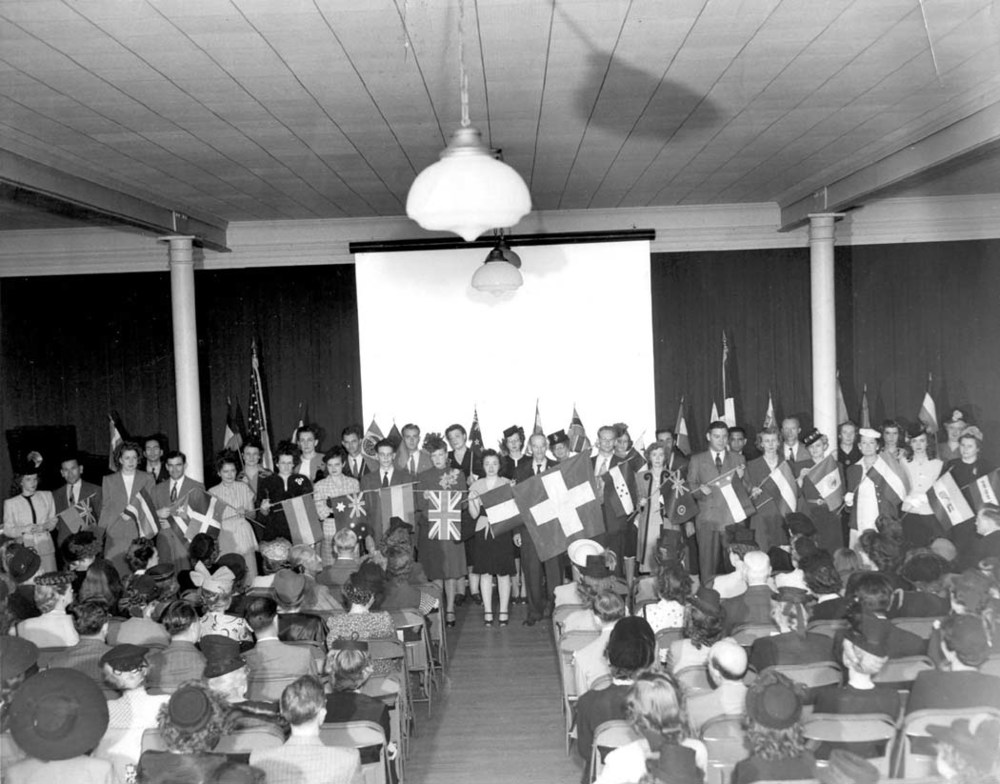 1945ca Congregation of All Nations - Flag Day.JPG