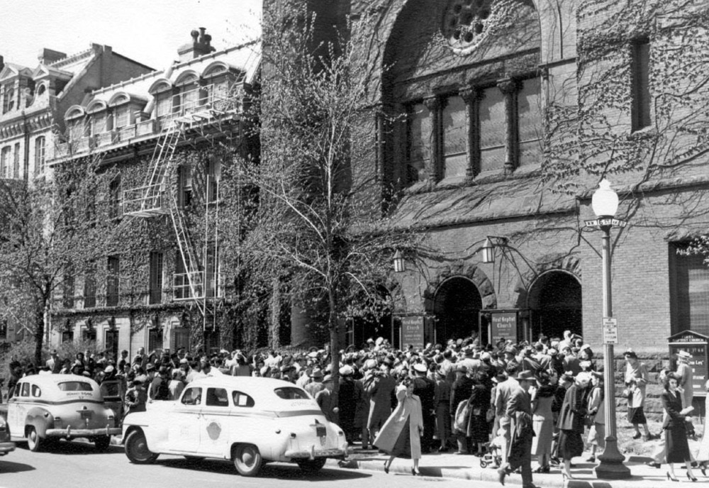 1948 Easter Sunday in front of church - source archives.JPG