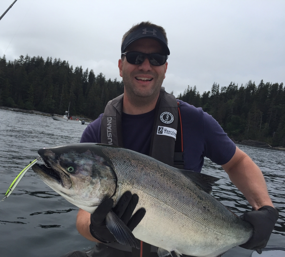 Jim catching and quickly releasing one of many large chinook in Haida Gwaii on the AP Sandlance Spoon.