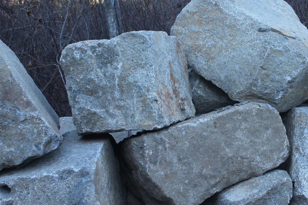 Granite wall rock rip rap