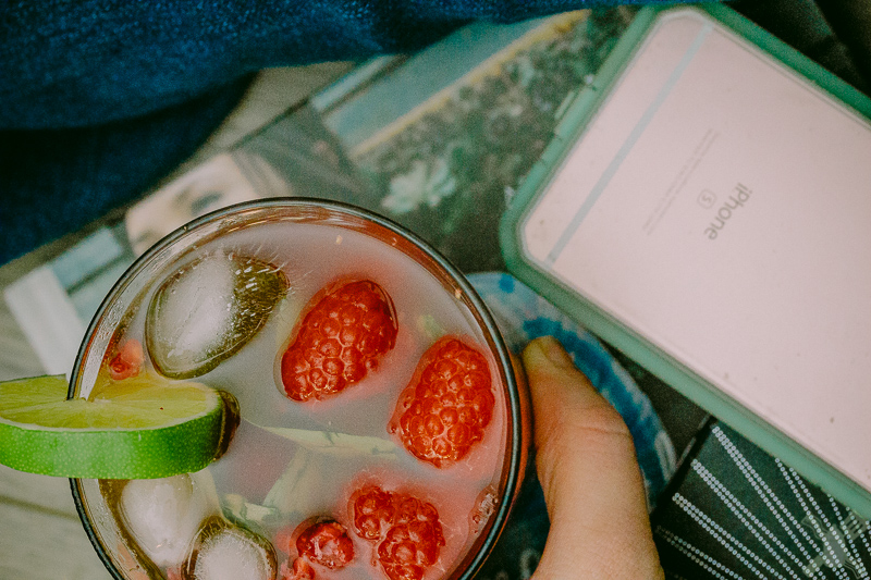 I gave up on taking photographs and sat down to read my new cookbook, talk to the trifecta, and drink my raspberry basil mojito.  Glad the mojito is super easy to make!