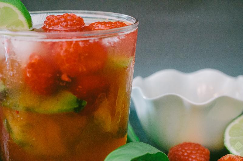 Raspberry basil mojito
