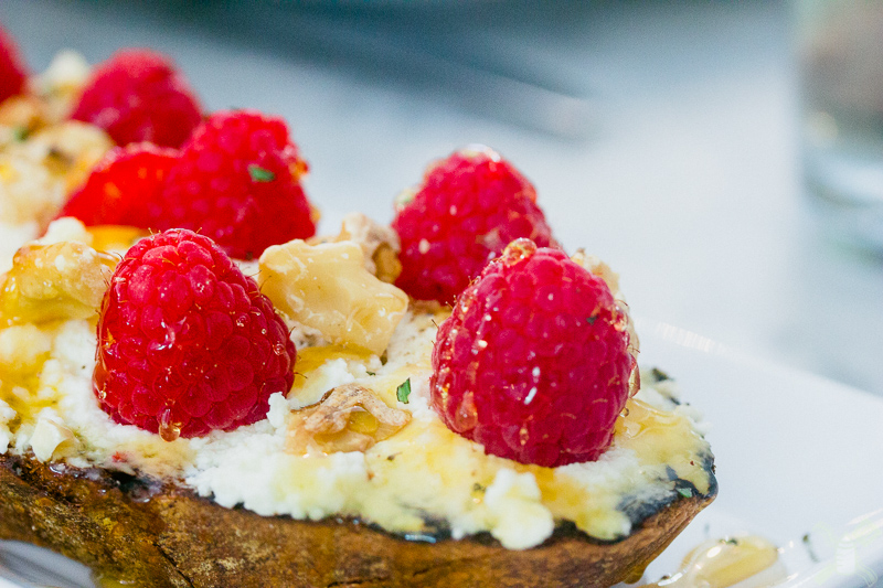 Raspberry, ricotta, candied walnut, and honey toast... I may be in love with this toast from Marlowe's.