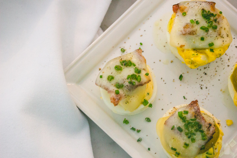 These are the deviled eggs that we so patiently waited for.  So good!