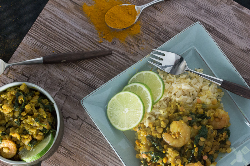 Spicy spinach and shrimp red lentils